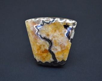 Simbircite-ammonite with pyrite natural stone cabochon  43 x 42 x 6 mm