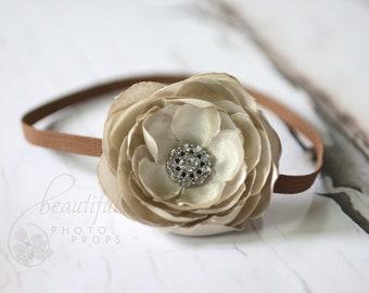 Taupe Flower Headband Newborn Photography Prop