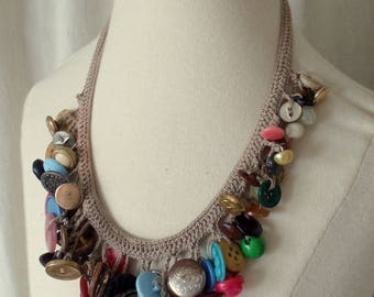 Vintage 70's Chunky Crochet ButtonBib Necklace