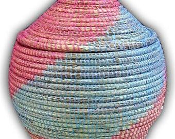 Box - blue, pink - Senegalese VAN20 basketry