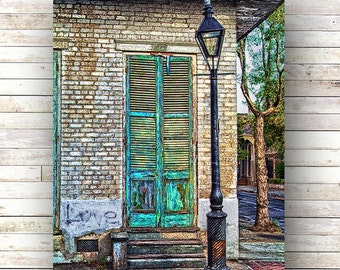 New Orleans Art SHUTTERED French Quarter Doors Architecture Door Photography Shutters Historic Original Art NOLA Gas Lampost french quarter