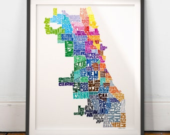 Chicago Neighborhood Map Art Print, Chicago wall decor, Chicago typography map art