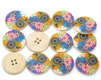 5 Floral (Design no.4) Painted Wood Button Four Hole Natural Wood Colour 30mm - 5 Pack NPB22