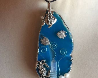 Agate Seascape Ocean Theme Wire Wrapped Pendant Necklace Jewelry
