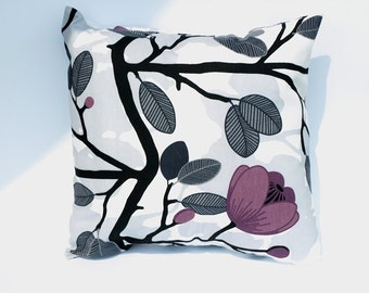 Pillow cover grey purple black flowers Decorative Cotton pillow case for Throw pillows Floor Cushions Accent Pillows