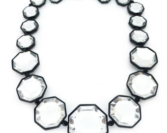 Vintage Acrylic Space Age Black Enamel Panel Necklace
