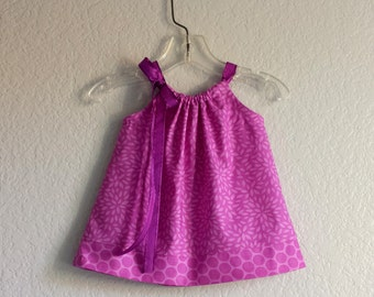 Baby Girls Purple Dress with Bloomers - Purple Flowers & PolkaDots - Babies Pillowcase Dress and Bloomers - Sizes Nb, 3m, 6m, 9m, 12m or 18m