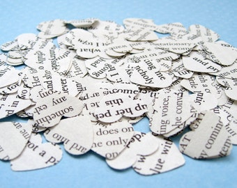 Great Gatsby Heart Novel Book Confetti - Choose from amounts of 200 to 1250 - Wedding Table Decoration Hearts