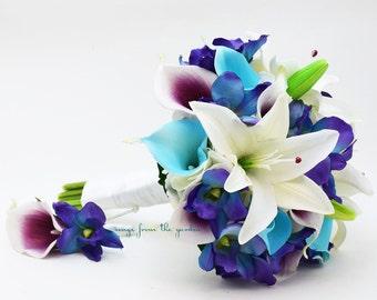 Blue White Plum Purple Bridal Bouquet Calla Lilies Orchids Lilies Groom's Boutonniere - Customize for Your Wedding Colors
