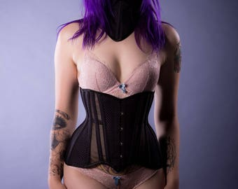 Black and Purple Cincher with Sheer Panels 20 Inch Waist