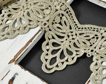 Venise Lace Ribbon Trim, 4 Inch by 1 Yard, Ivory, SP-2392