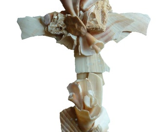 Wedding Cross, Seashell Cross sculptured from naturally broken shells, original unique Christian Cross, beach wedding Cross, unique Crucifix