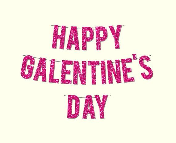 Pink Sparkly HAPPY GALENTINE'S DAY Banner
