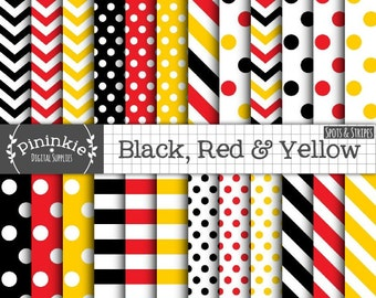 Black, Red & Yellow Digital Paper, Polka Dots, Chevrons, Stripes, Commercial Use, Scrapbooking, Photo Backgrounds