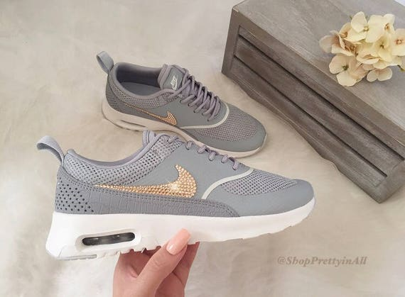 Bling Nike Air Max Thea Shoes with Swarovski Crystals  Black