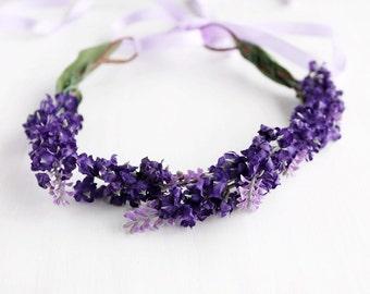 Purple Floral Crown, Lavender Crown, Flower Girl Halo, Boho Crown, Purple Woodland Halo, Purple Wedding Crown, Bridal Head Wreath, Girl Halo