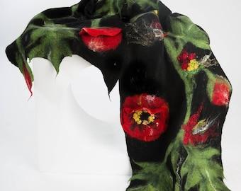 Shawl with poppy flower / Nuno Felt / Red Flowers / Handmade Felted Shawl / Merino Wool / Wrap / Made to order.