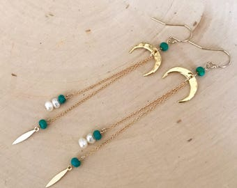 NEW! Gold Double Horn Drop Earrings with Turquoise and Freshwater Pearls