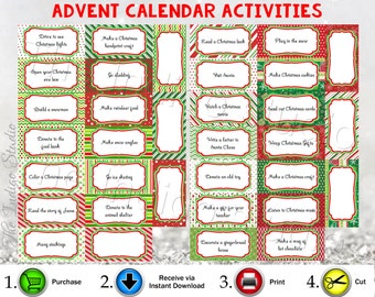 Advent Calendar Printable Activities Instant Download Advent Calendar Activities, Family Christmas Activities, Holiday Activities, Digital