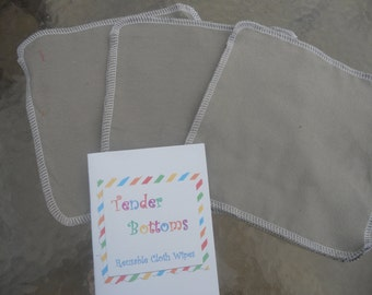 """30 ct 1 Ply Tender Bottoms Baby Wipes, Family cloth, Napkins 8"""" Squares"""