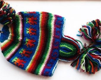 Vintage wool earflap hat Nepal warm winter cap ethnic