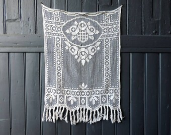 Vintage French, machine made, fillet lace curtain in cotton