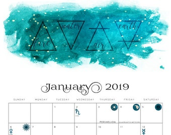 2019 Moon Phase Calendar: Lunar Cycle & Astronomy Monthly Calendar w/ Eclipse, Seasons, Meteor Showers, Planetary Movements Wall Art Decor