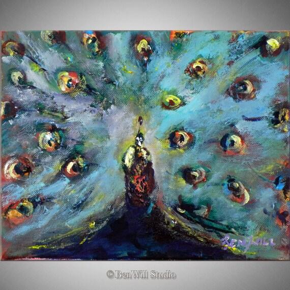 PEACOCK Painting - ORIGINAL Peacock Art Oil Painting - 12x8 Original Artwork by BenWill