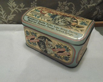 Purrfect Chocolates Hinged Lid Tin - English tin - Kitten tin - Aqua tin