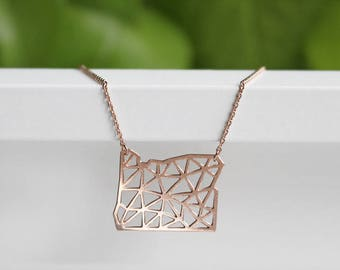 Oregon Geometric Necklace | Rose Gold | Small | ATL-N-188-R