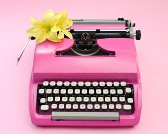 Pink typewriter Torpedo restored vintage typewriter College graduation gift wedding guest book alternative bridal gift