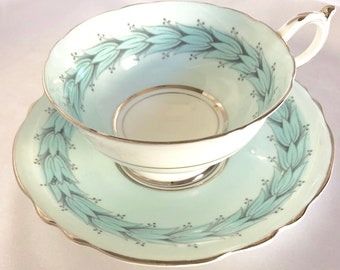 Vintage Paragon England Pastel Blue Tea Cup and Saucer