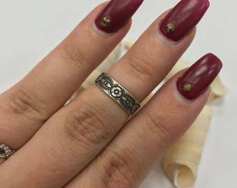Vintage 925 silver floral midi/toe ring L271