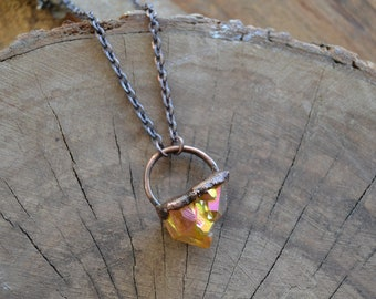 Sunset Aura Electroformed Necklace // Copper Chain // Crystal Energy // Creativity // Life Force Energy // Manifestation// Sexuality //