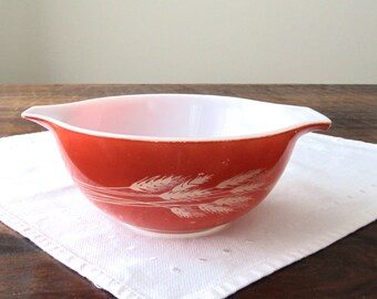 Kitchen Decor   Pyrex   Cinderella Bowl   Pyrex Autumn Harvest 442   Retro Kitchen   Milk Glass   Mixing Bowl
