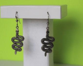 80s Sterling Silver Snake Earrings