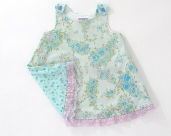 Baby Blue Floral Baby Dress, Girls Dress, Baby Pinafore, Girls Sundress, First Birthday Dress, Girls Dresses, Pastel Dress, Size 12-18 Month