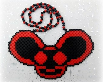 Deadmau5 Large Custom Colors Perler Bead Art Kandi Necklace Rave PLUR EDM