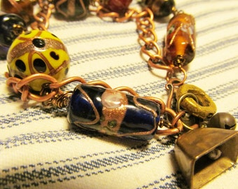 Bojangles Trade Bead Charm Bracelet, vintage beads and charms