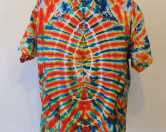 Psychedelic Profile Tie Dye Cotton Tee Shirt Large