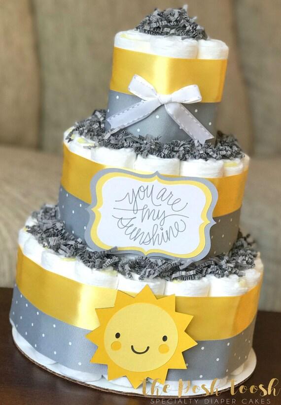 You Are My Sunshine Diaper Cake Baby Shower Centerpiece Decor