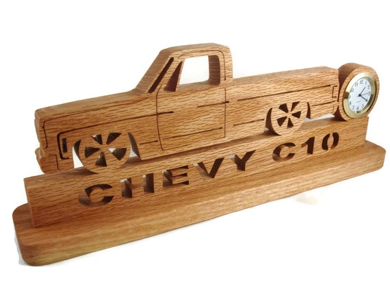 Slammed Chevy C10 Squarebody Lowered Pickup Truck Desk Or Shelf Clock Cut By Hand From Oak Wood By KevsKrafts