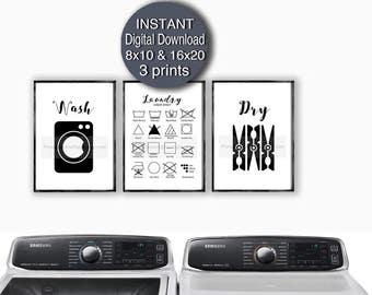 Printable Laundry Room Print Set of 3 Prints Wash Dry Laundry Care Symbols 5x7 8x10 11x14 16x20 A4