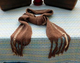 Brown Cotton/Linen Hand Woven Scarf