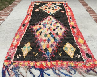 "FREE SHIPPING!!! ""DAISY"" Boho Chic Rug Vintage Moroccan Boucherouite in Multi Colors (Los Angeles)"