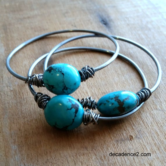 Chunky Turquoise Stone Bangles, Sterling Silver, Boho Stacking Bangles