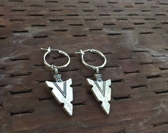Arrow Earrings Arrowhead Tribal Arrow Earrings Hoop Goth gothic punk Earrings Minimalist Simple Antique silver earrings Hoop Earrings silver