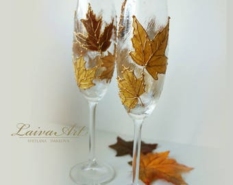 Fall Wedding Champagne Flutes Wedding Flutes Wedding Toasting Flutes