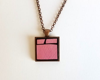 Metallic Pink Geometric Wood Pendant Necklace