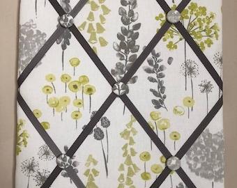 Fabric Memo Board - Grey and Green Flower Fabric